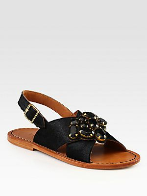 faaddc5c3897 Marni Jeweled Calf Hair Crisscross Sandals