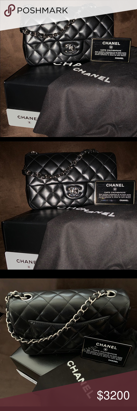 cd9e534de CHANEL mini rectangular bag Authentic Chanel mini rectangular lambskin black  leather with silver hardware. Good