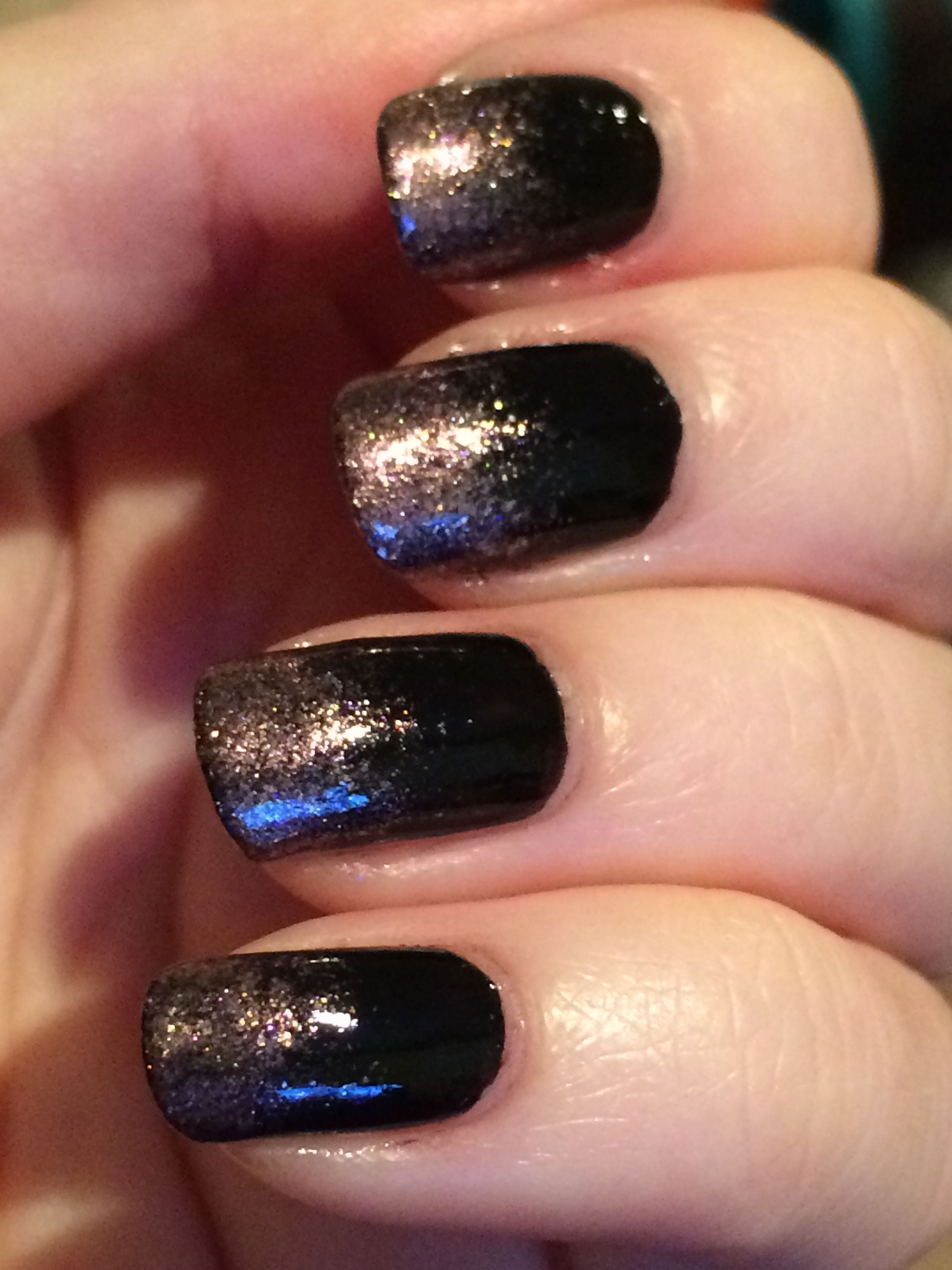 Black And Rose Gold Glitter Ombre Nails Art Design