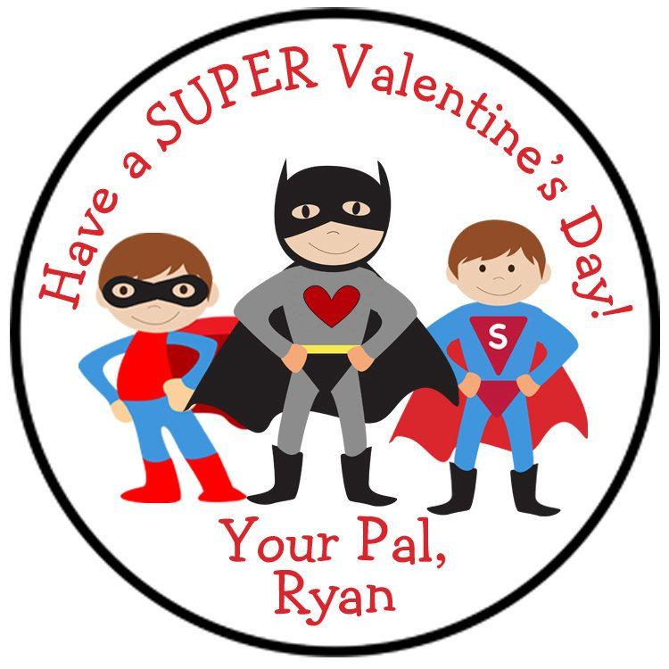 Super Hero Valentine Sticker Valentines By Thebutterflypress Valentine Stickers Superhero Valentines Happy Valentines Day Clipart