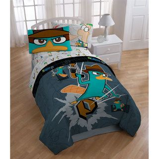 Disney Phineas And Ferb Agent Single Duvet Rotary Reversible Cover Set Quilt