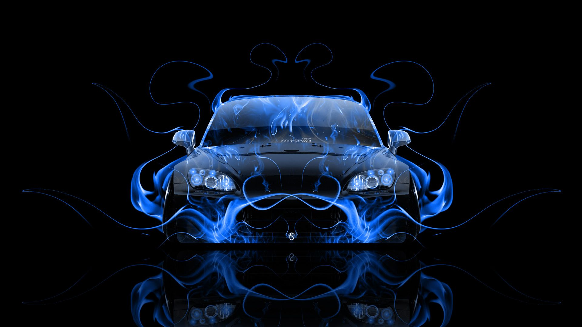 Beau Honda S2000 JDM Front Blue Fire Abstract Car