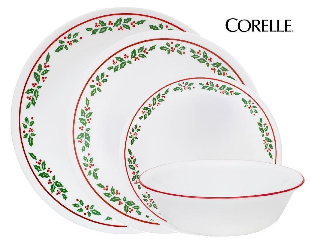 16pc Corelle Winter Holly Dinnerware Set Christmas Holiday Festive
