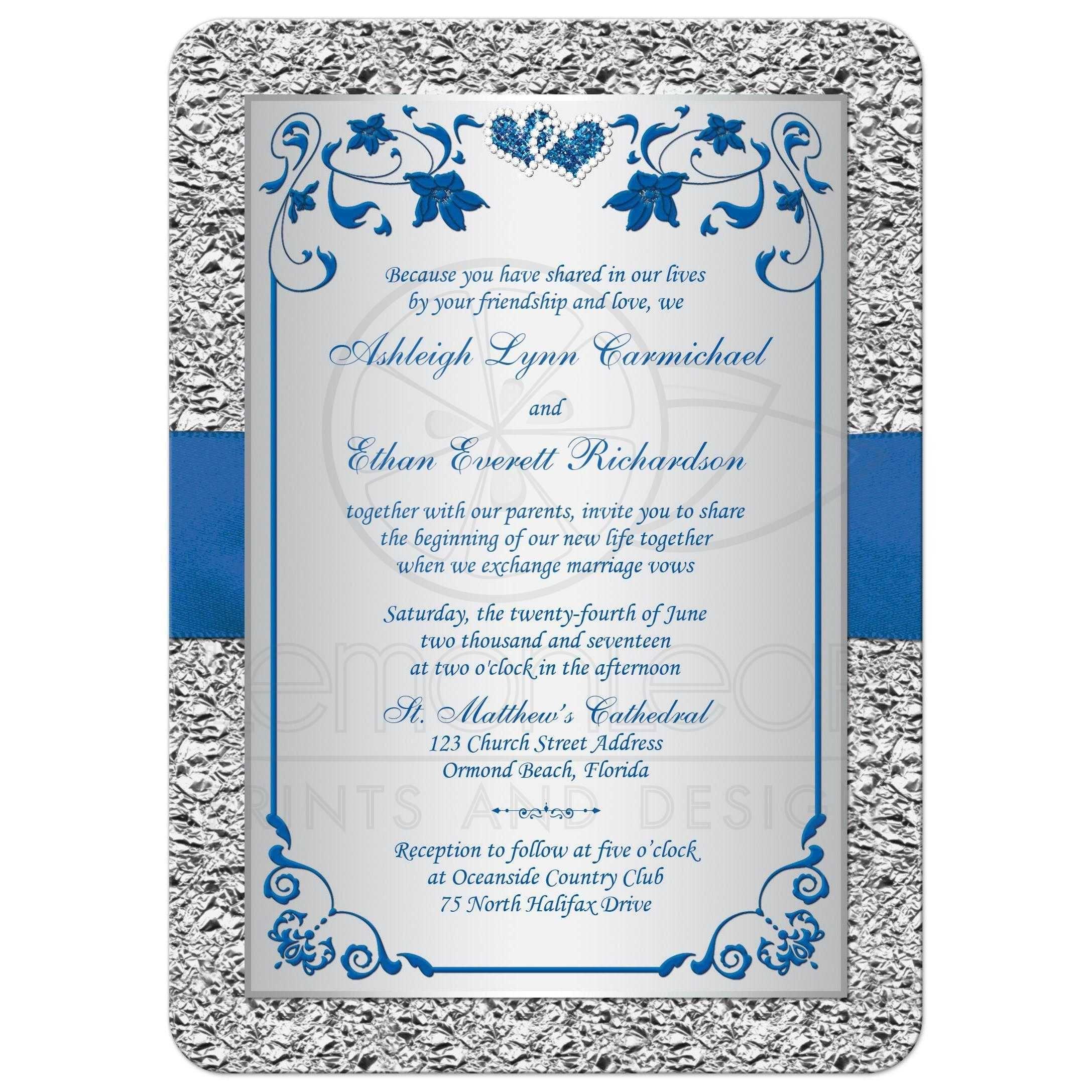 Royal Blue Wedding Invitation Faux Foil Silver Fl
