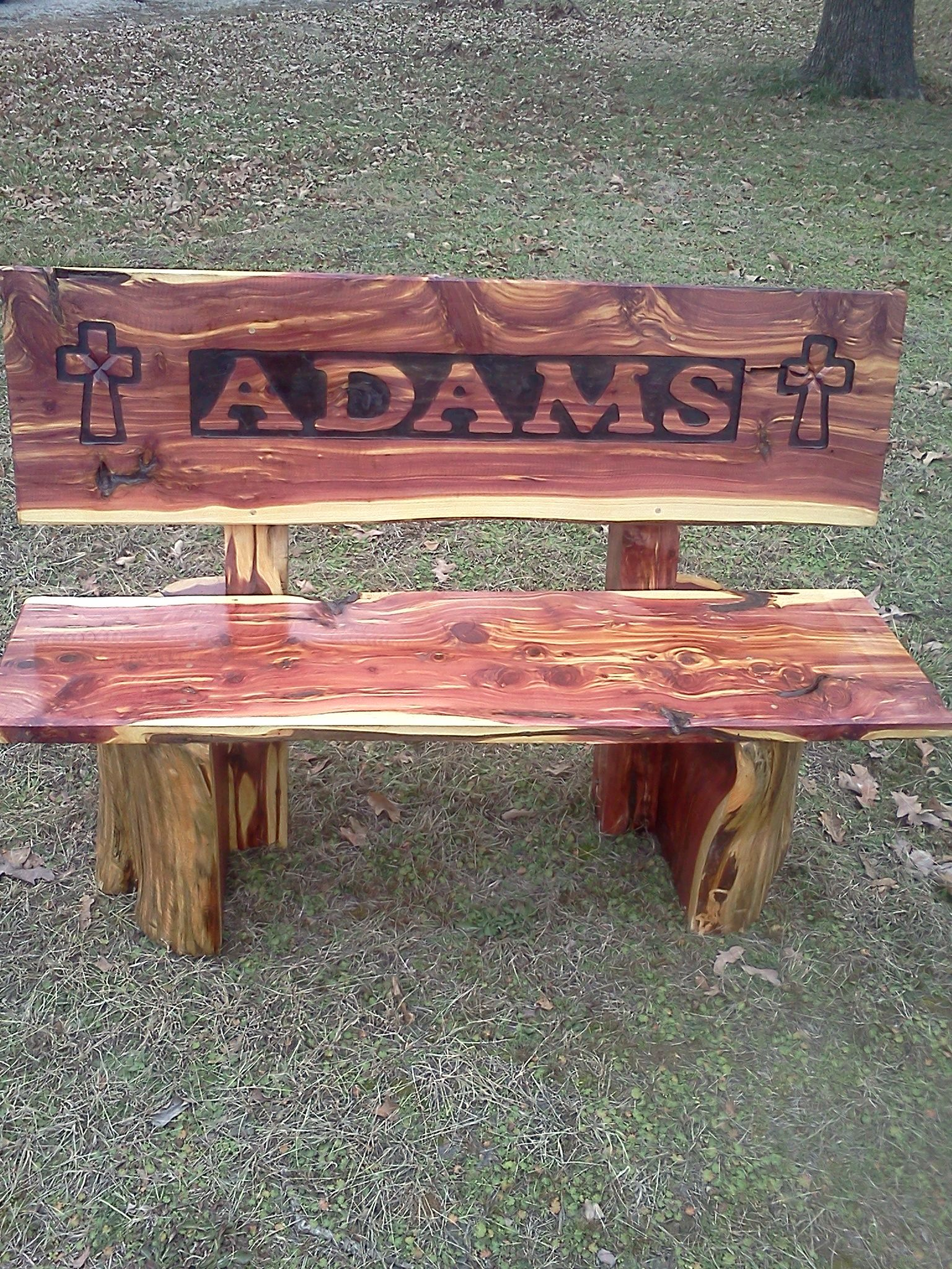 Cedar Log Bench Bus Stop. Furniture In