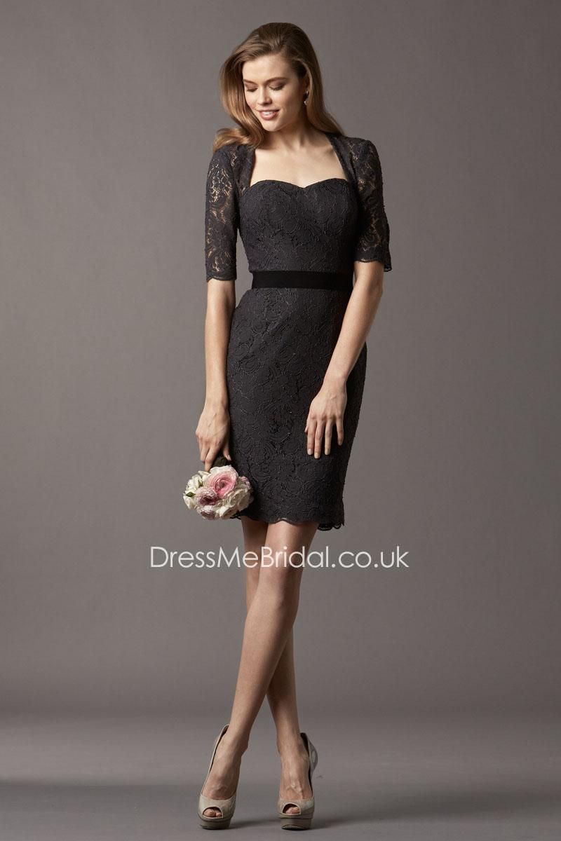 Knee Length Short Black Lace Queen Anne Neck Bridesmaid Dress With Jacket