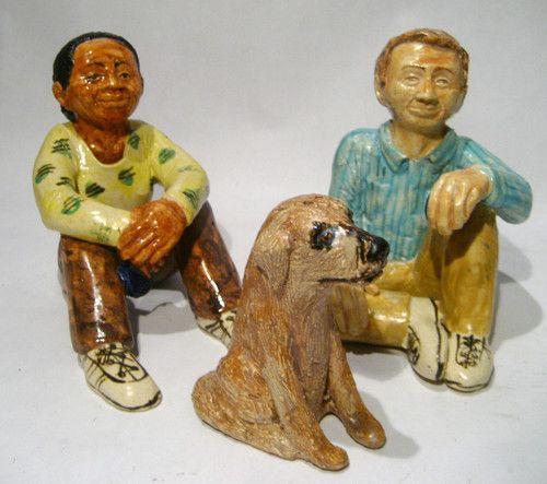 Marilyn Andrews 3 PC Folk Art Studio Pottery Crafted Sculpture Salt Pepper Dog | eBay