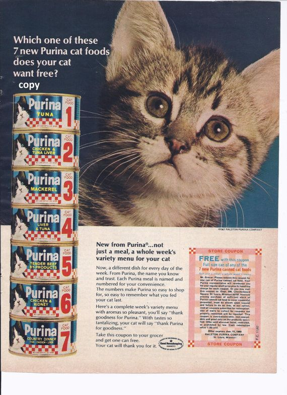 Purina Cat Food original magazine ad November by