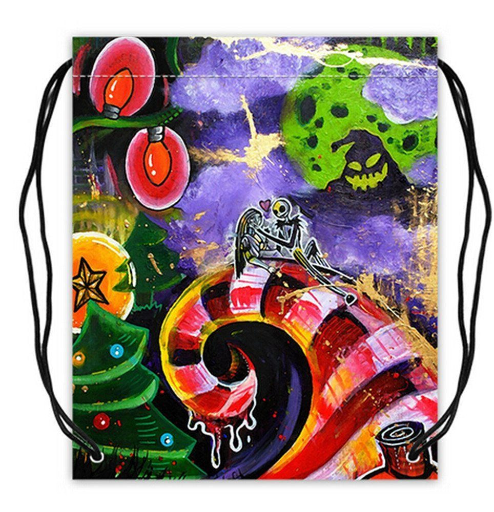 Custom Jack Skellington Basketball Drawstring Bags Backpacks Polyester Fabric Travel Backpack(Twin Sides) -- Awesome products selected by Anna Churchill