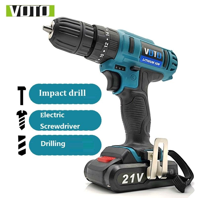 21v Electric Drill Lithium Battery Cordless Drill Home Diy Woodwork Impact Electric Screwdriver Drilling Double Speed Led L Cordless Drill Electric Drill Drill