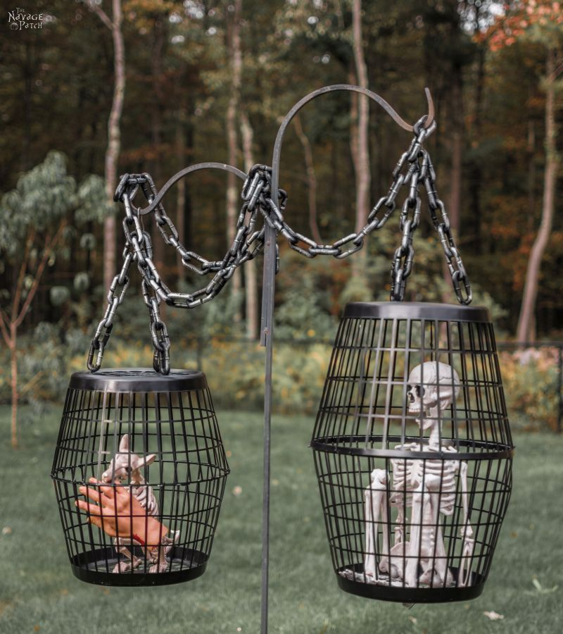 Hanging Cage Halloween Prop DIY Halloween decor with Dollar store - unique halloween decor