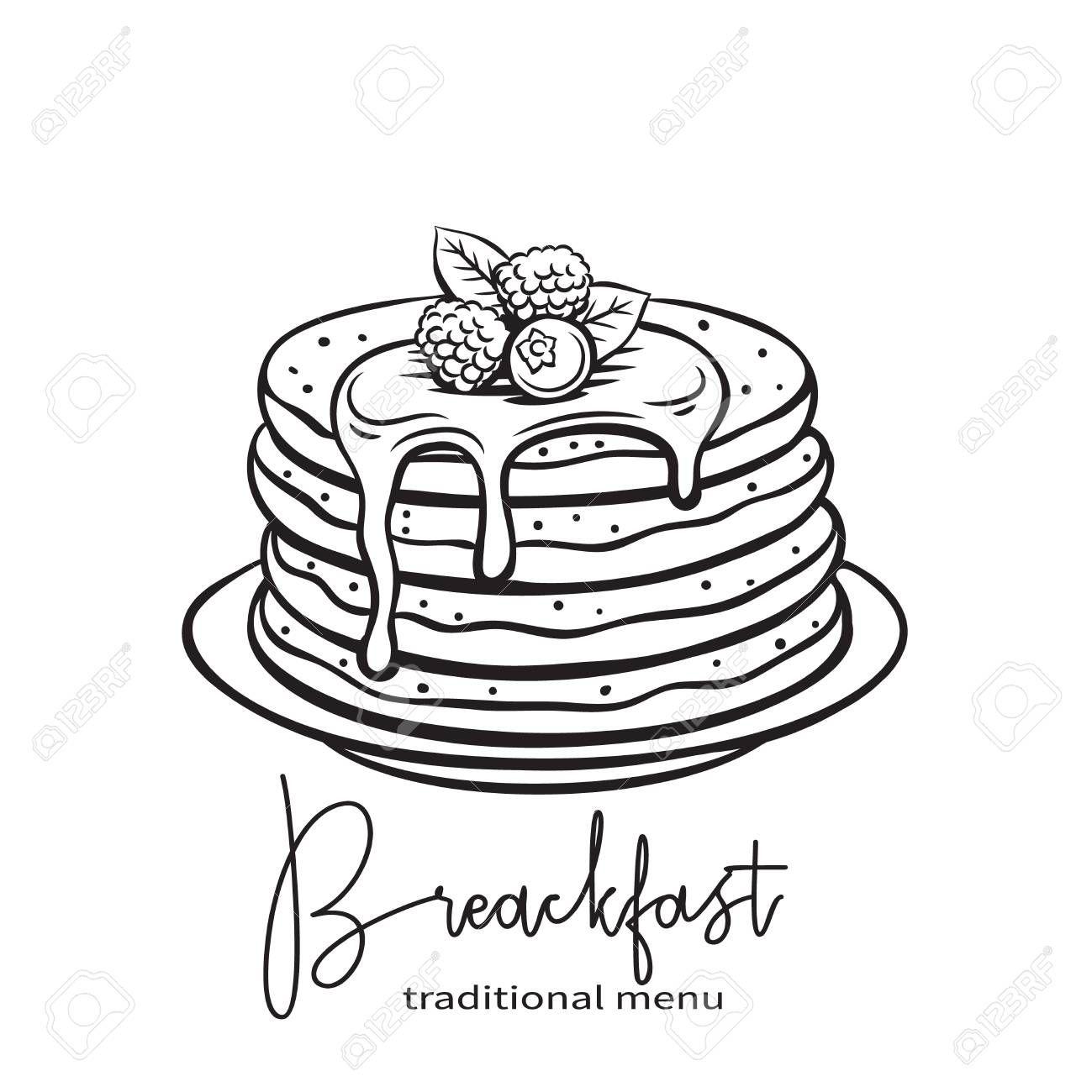 Hand Drawn Pancakes Illustration Aff Drawn Hand Illustration Pancakes How To Draw Hands Food Coloring Pages Pancake Drawing