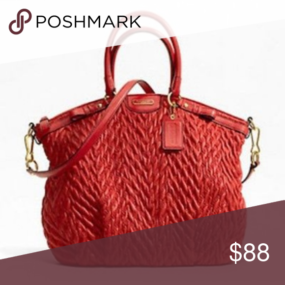 8ca9bd8cb8 Coach Madison Red Quilted Anniversary Bag Purse This is a Coach Madison  quilted red bag