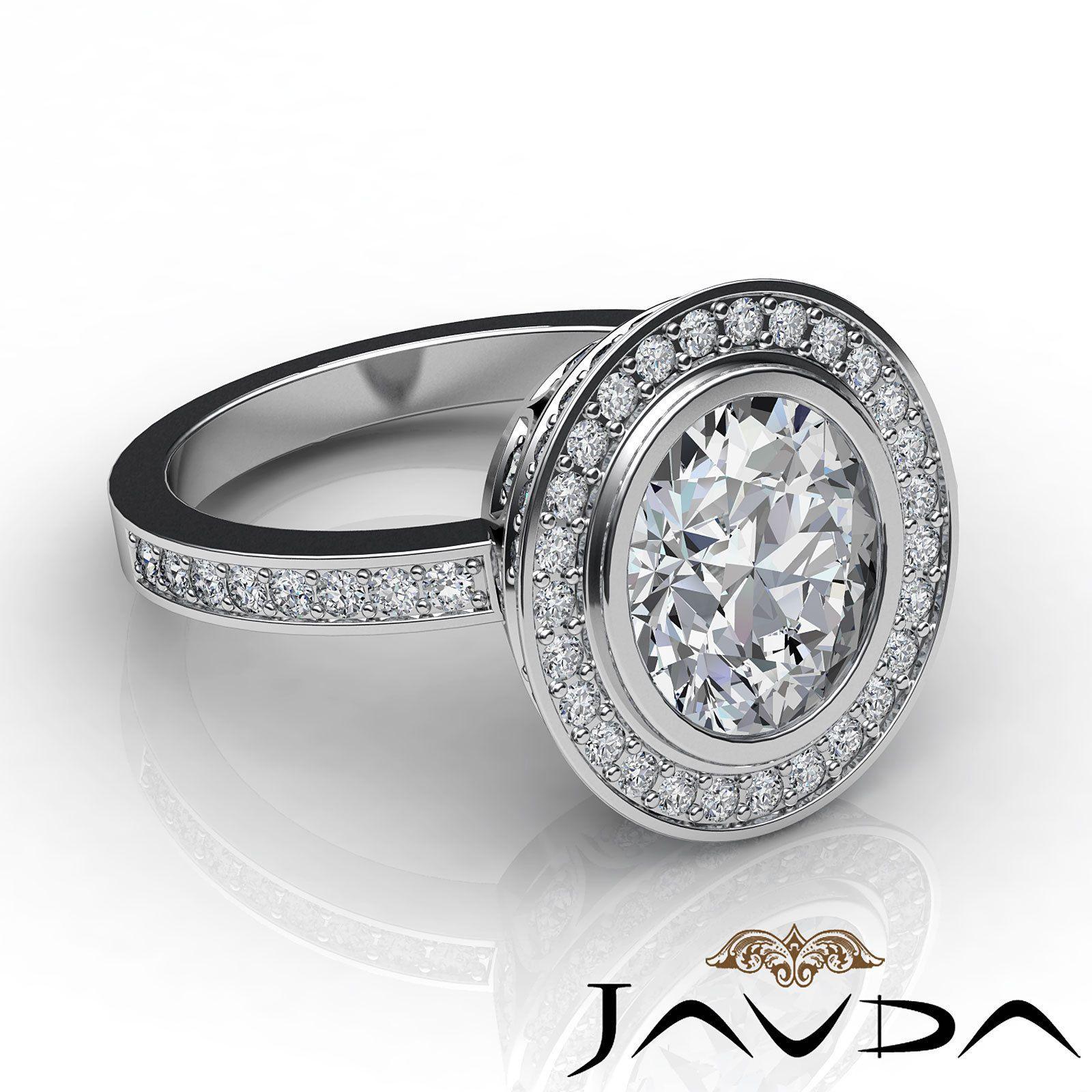 2 25 Ct Genuine Oval Cut Diamond Engagement Halo Ring 14k White Gold F VS2 GIA | eBay