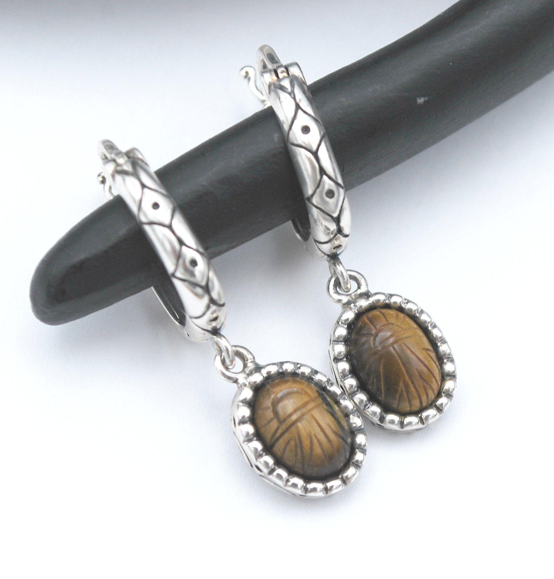 Vintage Victorian Look Sterling Tigers Eye Pierced Earrings