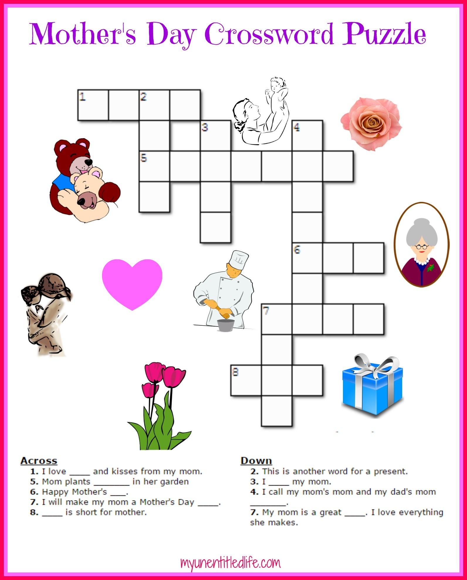 Free Mother S Day Crossword Puzzle Printable Crafts For Kids