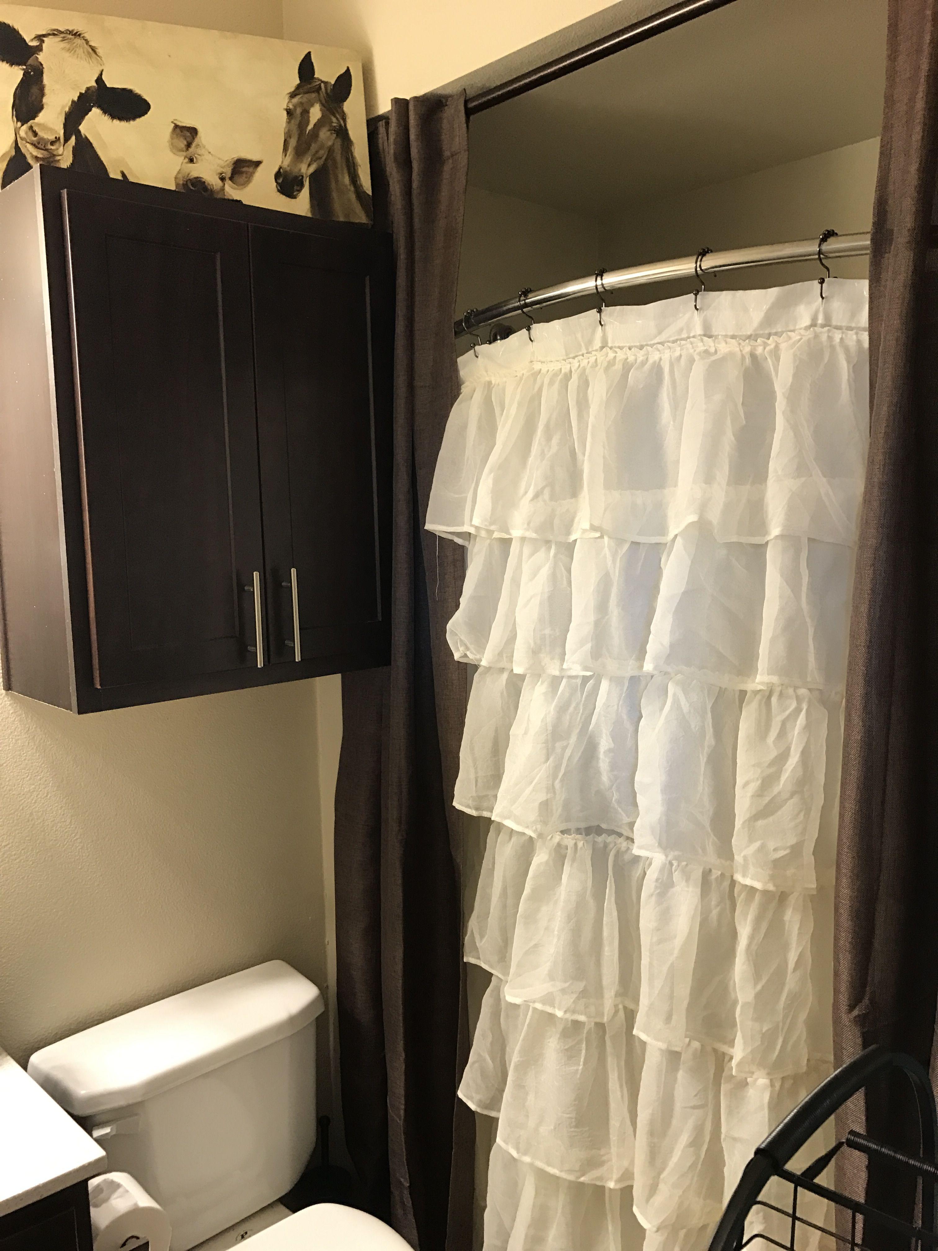 Farmhouse bathroom | Western bedroom, Ruffle shower ... on Farmhouse Bedroom Curtain Ideas  id=22331