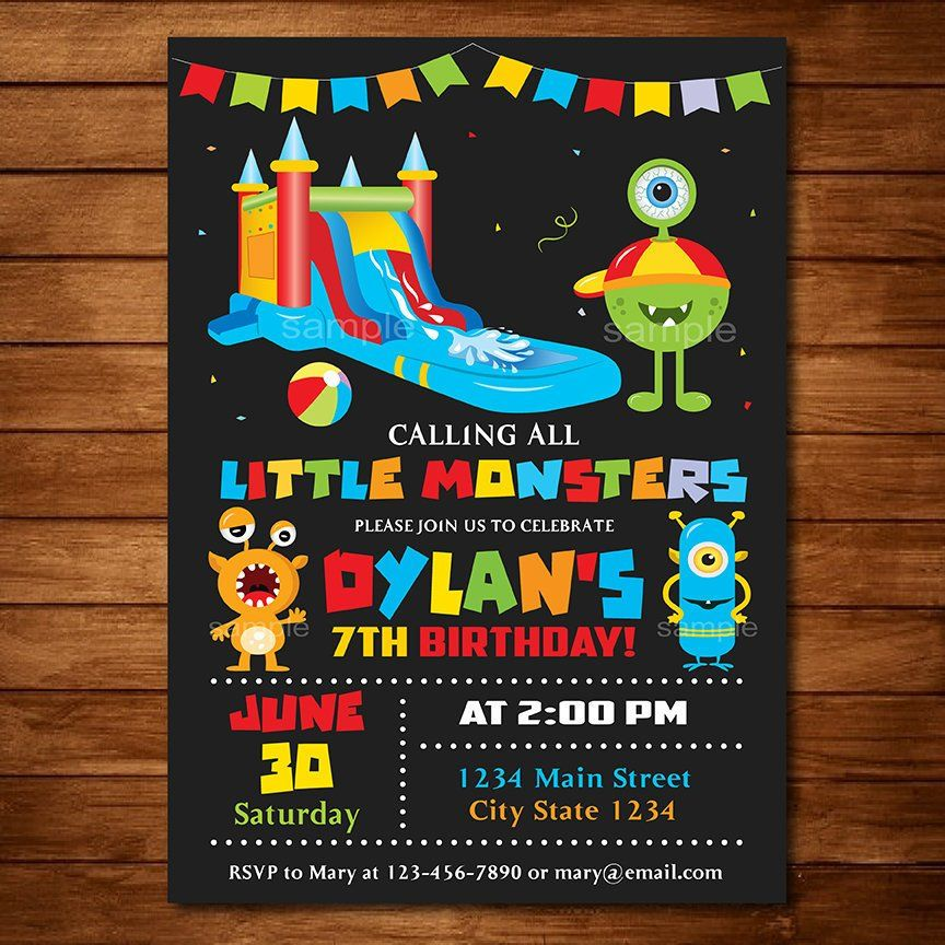 Monsters Water Slide Invitation, Monster party, Water