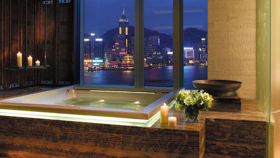 A Harbor View Jacuzzi At The Peninsula Hong Kong Hotel