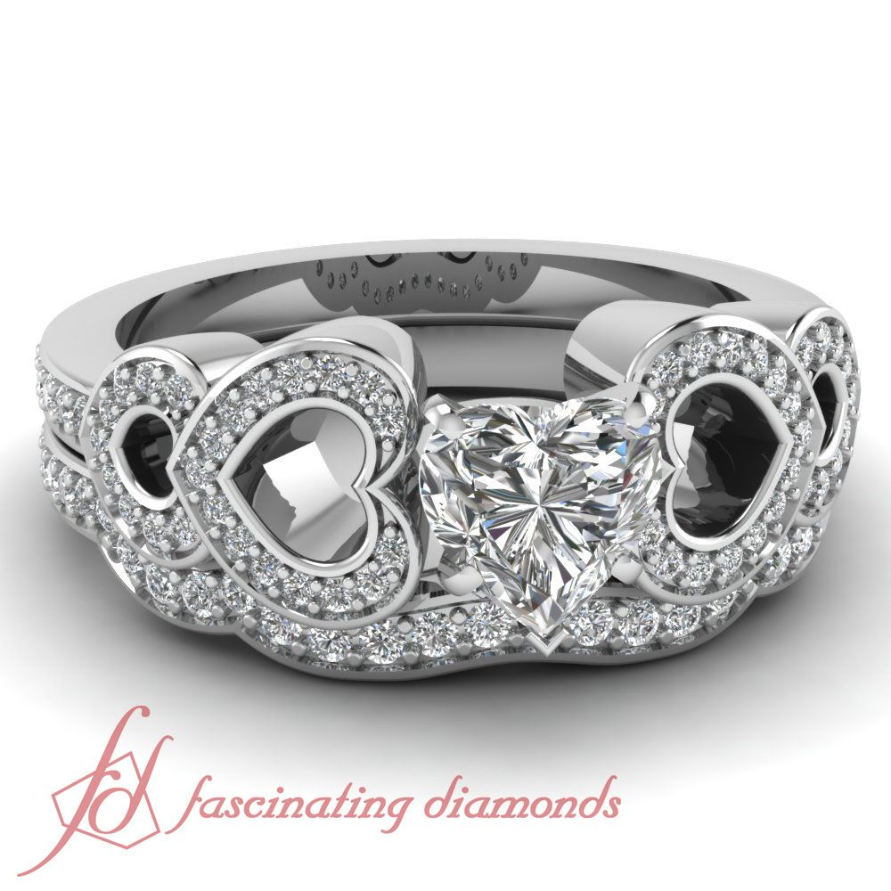 Breaking Wave Engagement Wedding Rings Pave Set 0 80 Ct Heart Shaped Diamond Gia