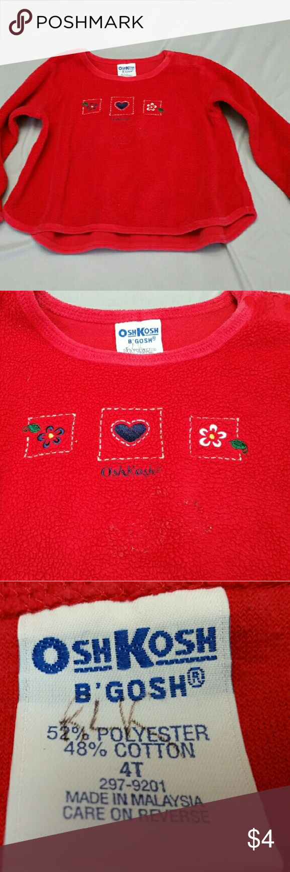 OshKosh B'Gosh 4 t fleece sweater Girls OshKosh B'gosh 4T fleece sweater for little girl. It's an excellent condition and it's absolutely adorable. Originally $16.99 now only $4!! I try to keep everything at least 75% off.  I typically ship same day or next Depending on time the order was placed. Thank you for checking out my closet and happy shopping!! OshKosh B'Gosh Shirts & Tops Sweaters