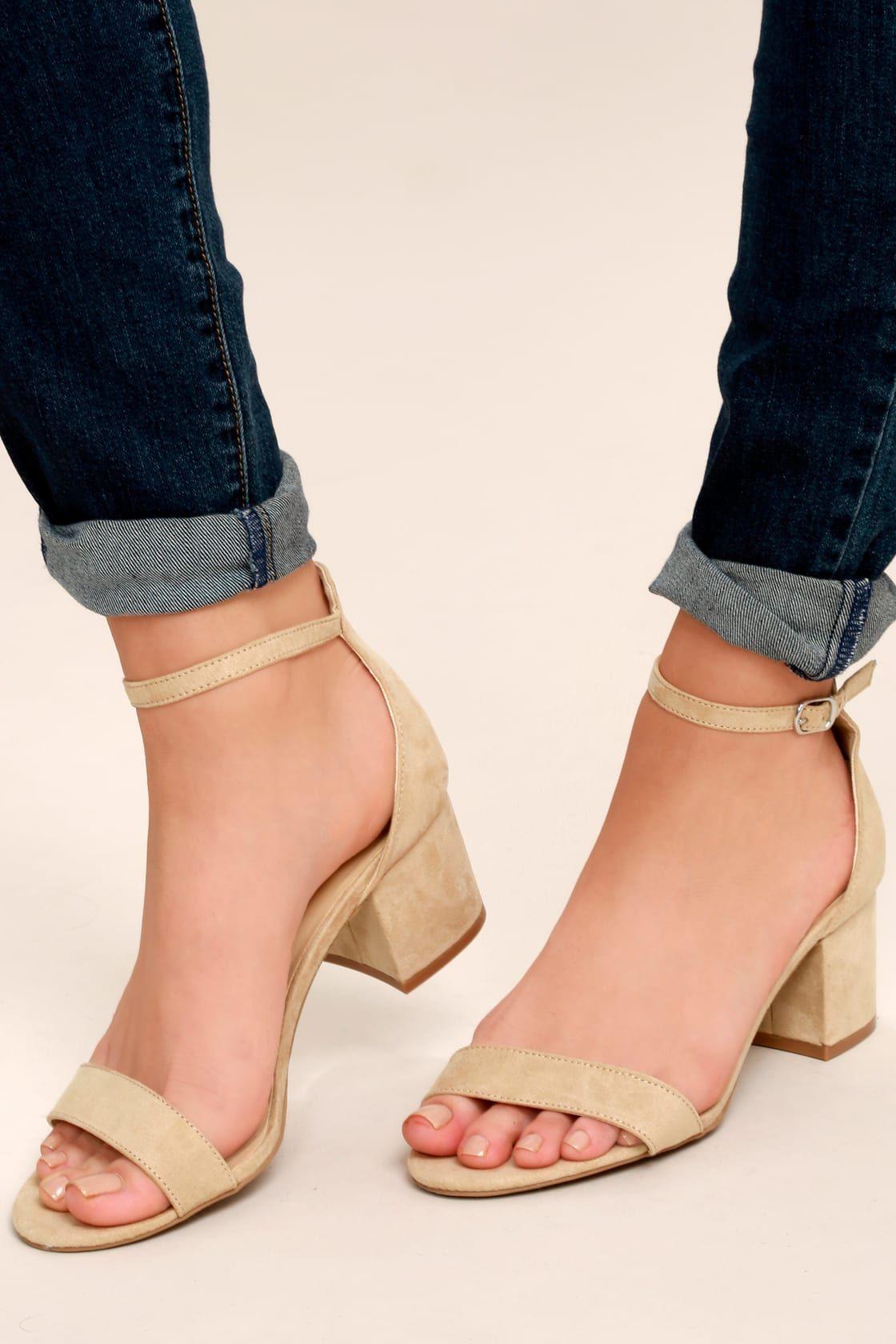 Harper Natural Suede Ankle Strap Heels   Ankle strap heels