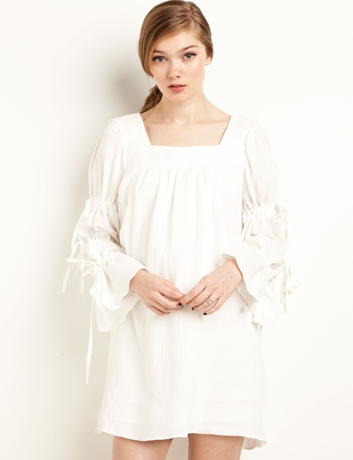 21f7e21db54ca White Sleeve Tie Baby Doll Dress  fashion  pixiemarket