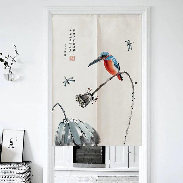 Chinese Flower And Bird Door Curtain Living Room Bedroom Half