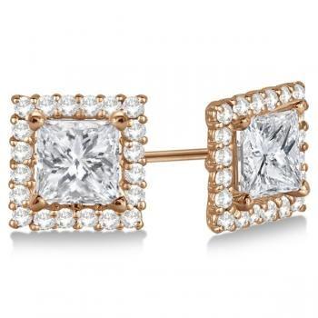 Pave Set Square Diamond Earring Jackets 14k Rose Gold 0 55ct Allurez