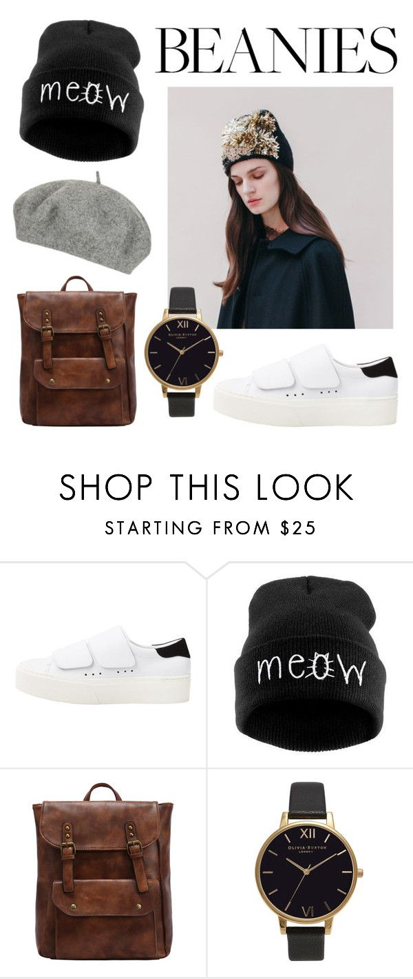 """#Beanies and baret"" by nathfromamsterdam ❤ liked on Polyvore featuring Jennifer Behr, MANGO, Olivia Burton, Topshop, beanies, 2017 and baret"