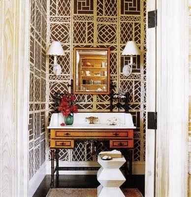 Great Bathroom Trellis Wallpaperbamboo
