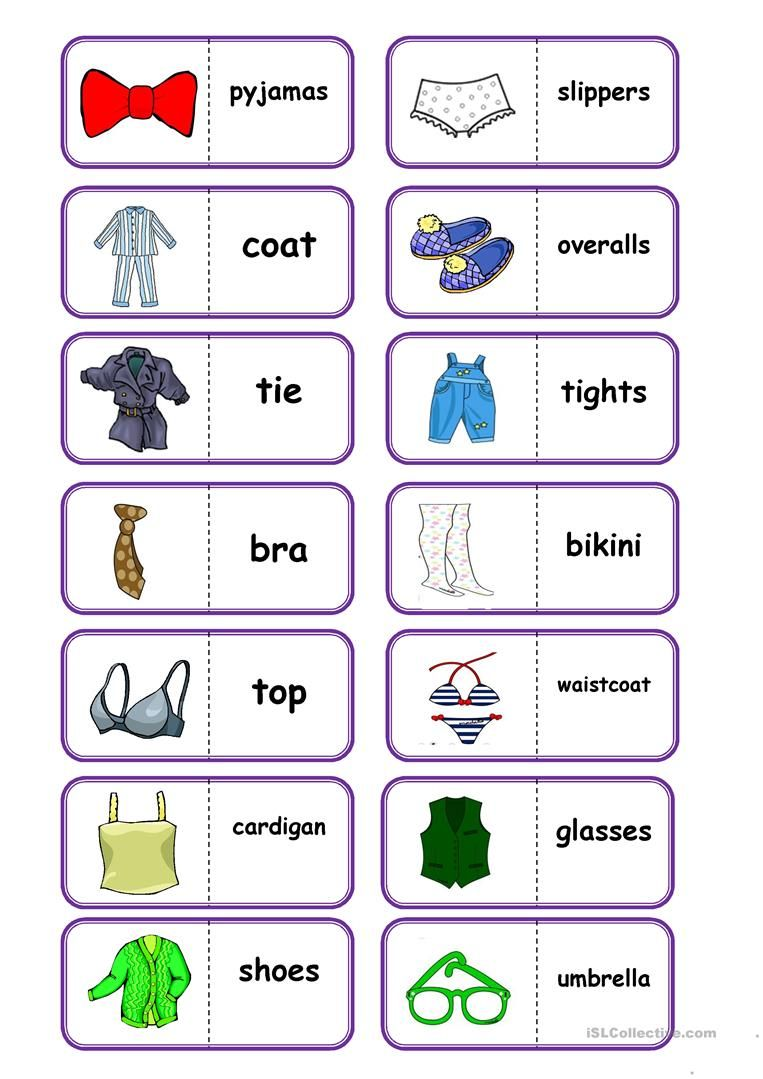 Clothes, domino worksheet - Free ESL printable worksheets made by ...