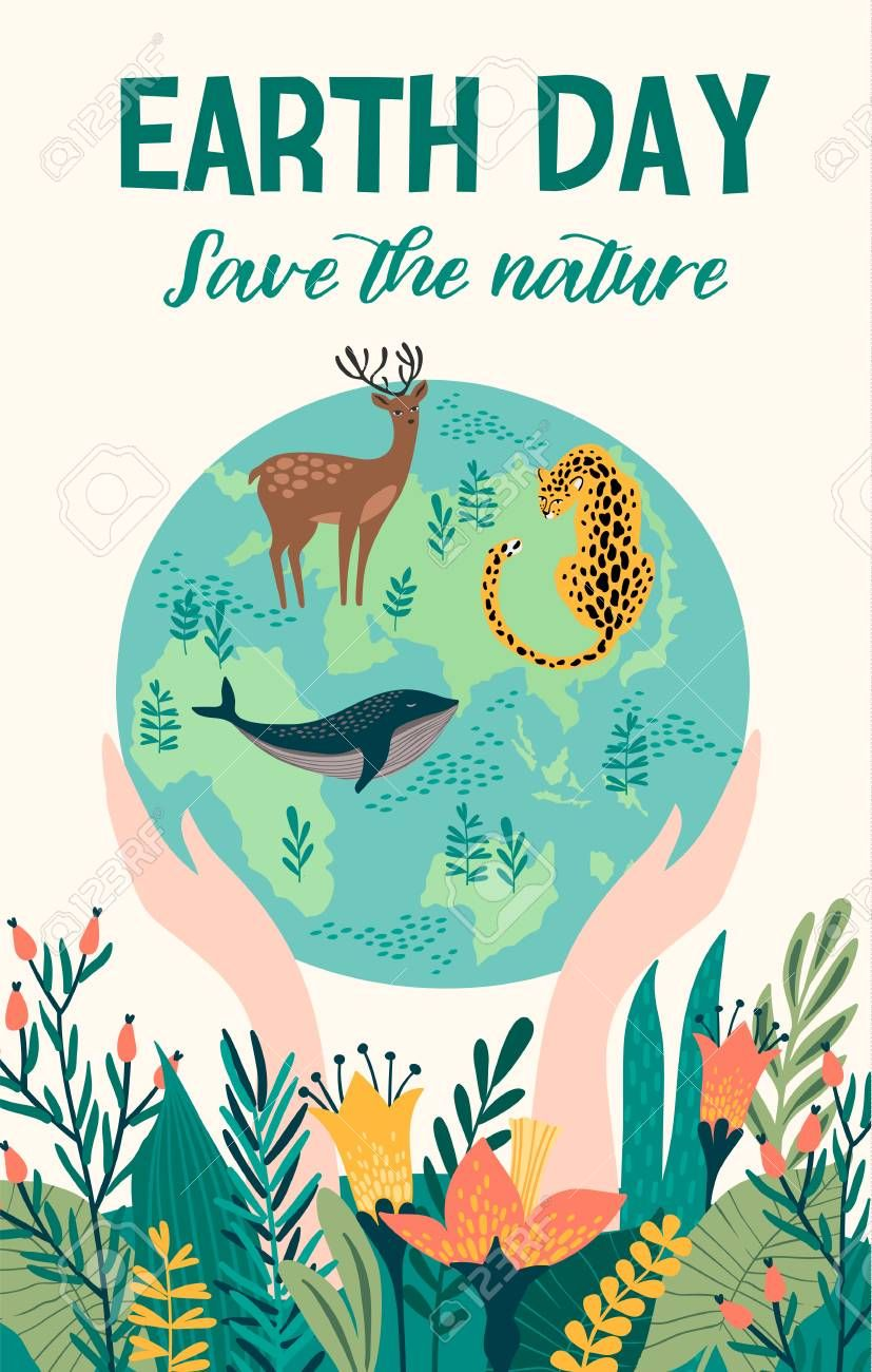 Earth Day With Animals Vector Template For Card Poster Banner Ilustrasi Poster Lingkungan Hidup Sketsa