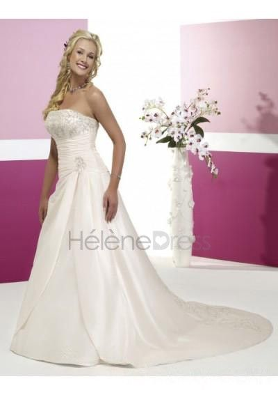 Beaded Straight Neckline with Ruched Waistline and A line Skirt Wedding Dress Manufacturer WD-0162 - A-Line Wedding Dresses - Wedding Dresses