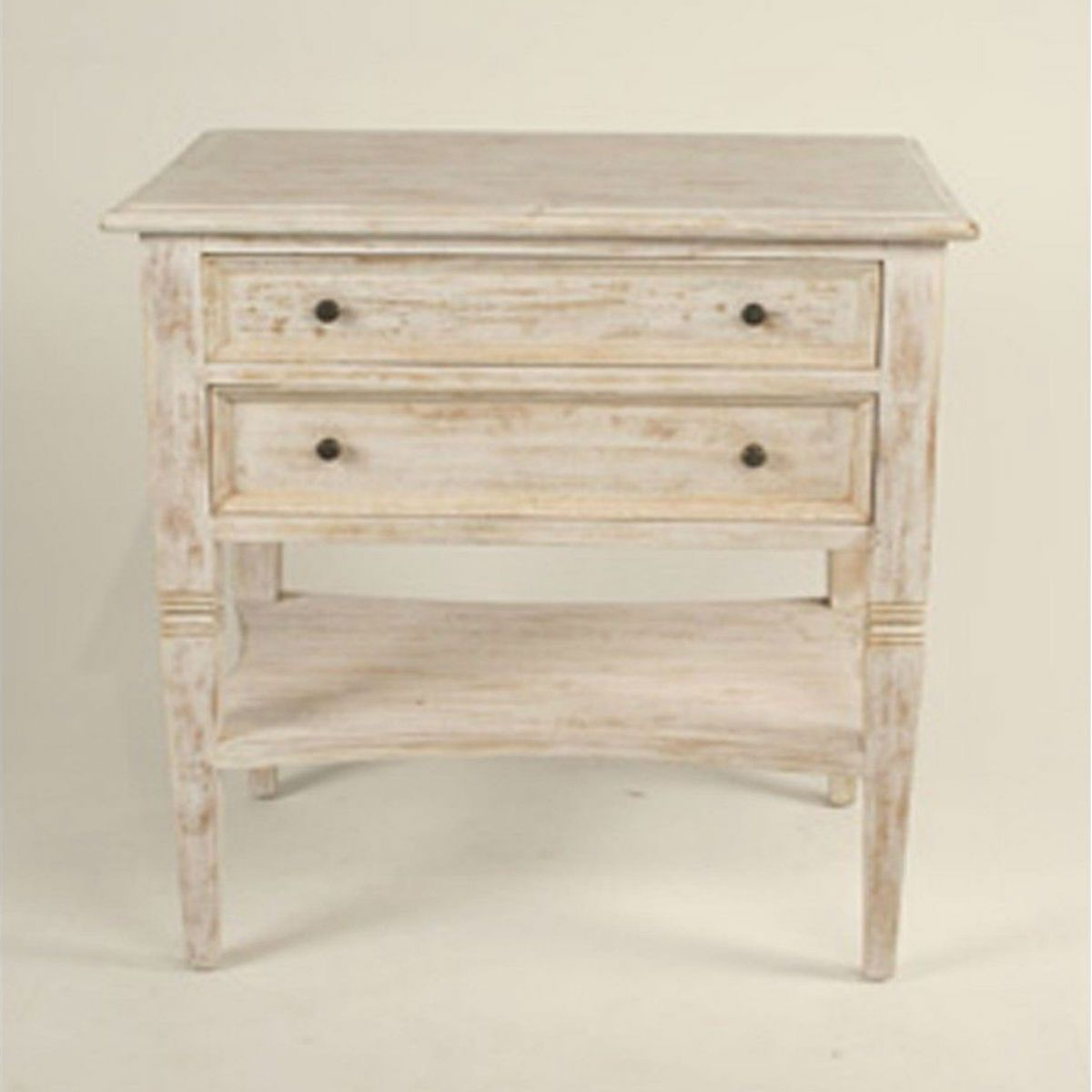 Oxford 2 Drawer Side Table White Wash