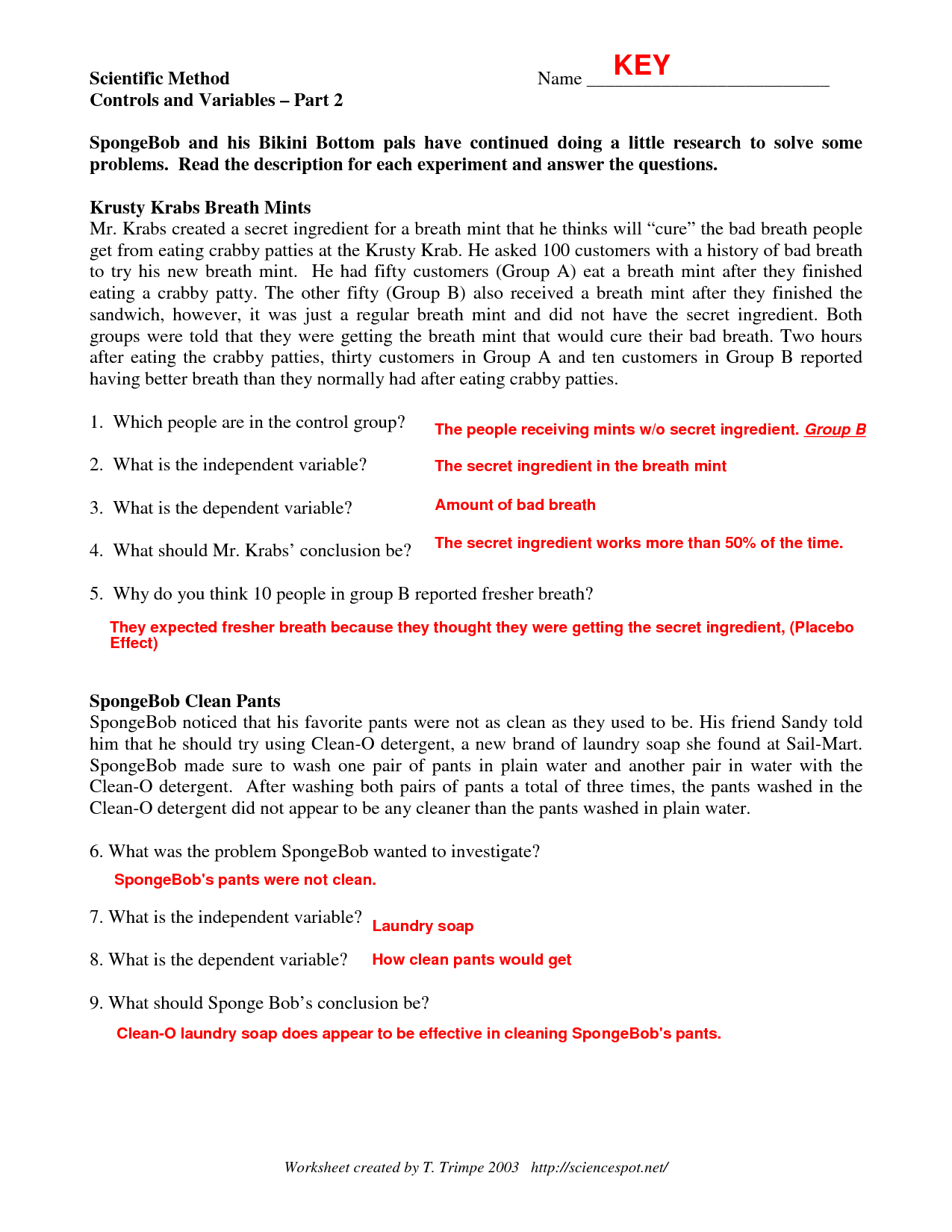 Pictures Scientific Method Spongebob Worksheet Answers - Studioxcess