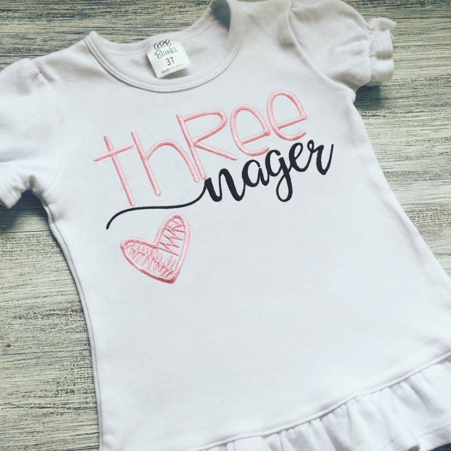 cddfa9aae Birthday Shirt - Threenager Shirt - Diva - Three Year Old Girl's Shirt…