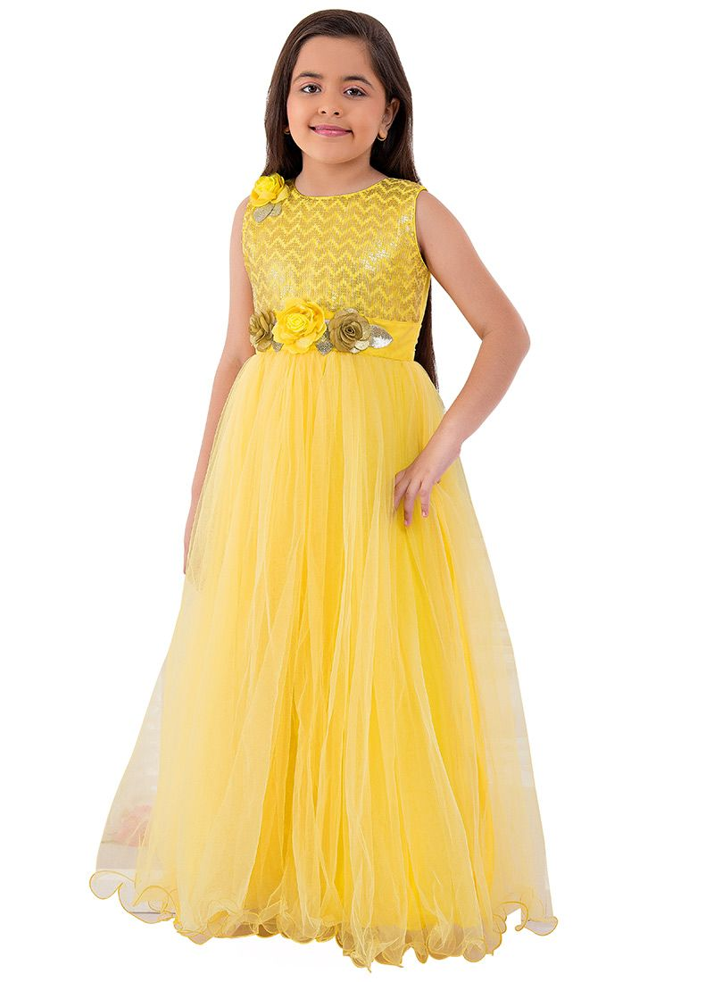 5e51ebfd98 Buy Yellow Embroidered Anarkali Gown online, SKU Code: KDDTK5129L. This Yellow  color girls gown for Kids comes with Embroidered Net. Shop Now!