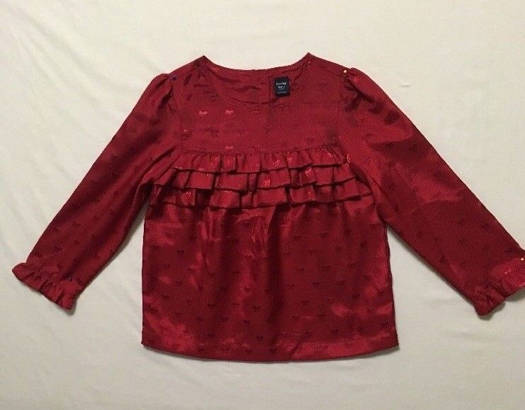 fa001102aaf9 BabyGap Girls Size 4T Top Red Holiday Long Sleeve Winter 100 ...