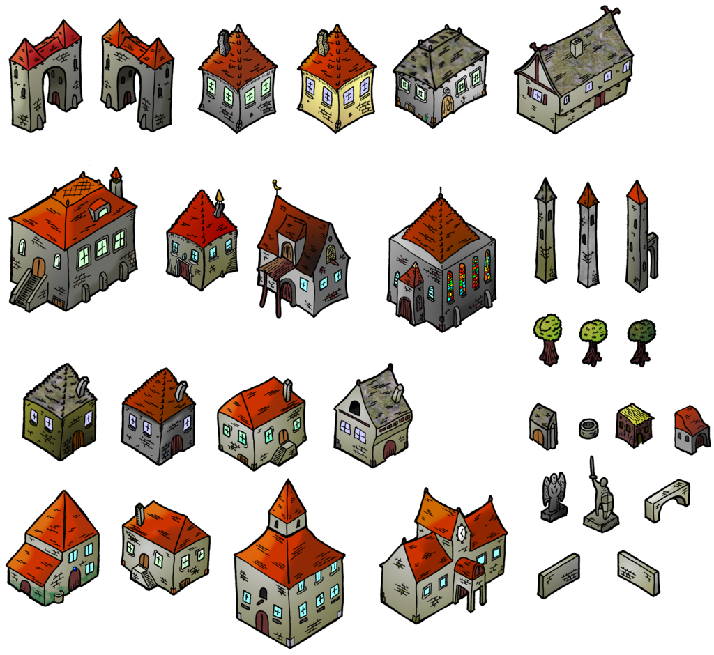 Medieval Houses Isometric Map Elements By Darthasparagus Cartography Create Your Own Roleplaying Game Material W