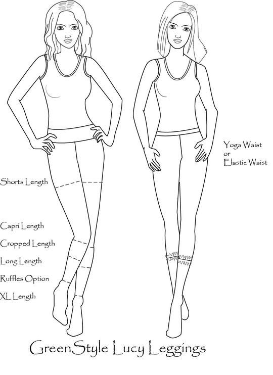 Photo of Women's Lucy Leggings with Plain or Ruffle Hem Options PDF Sewing Pattern for Women Size 0-18