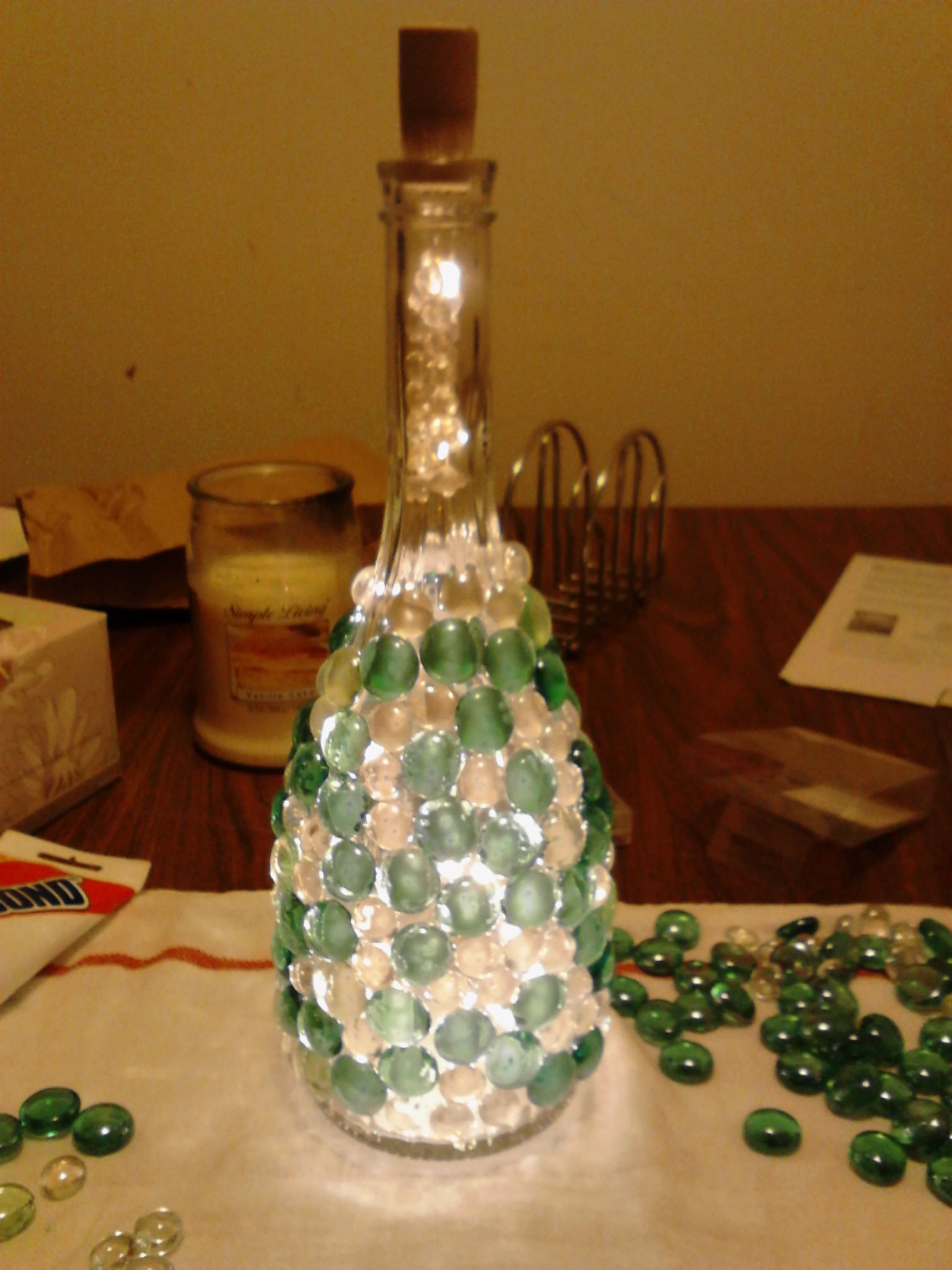 Wine bottle nightlight using a 5 8 glass tip drill bit i for How to cut the bottom of a glass bottle
