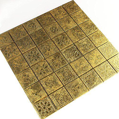 Keramik Effekt Mosaik Fliesen Gold Ornament 48x48x10mm   parkett ...