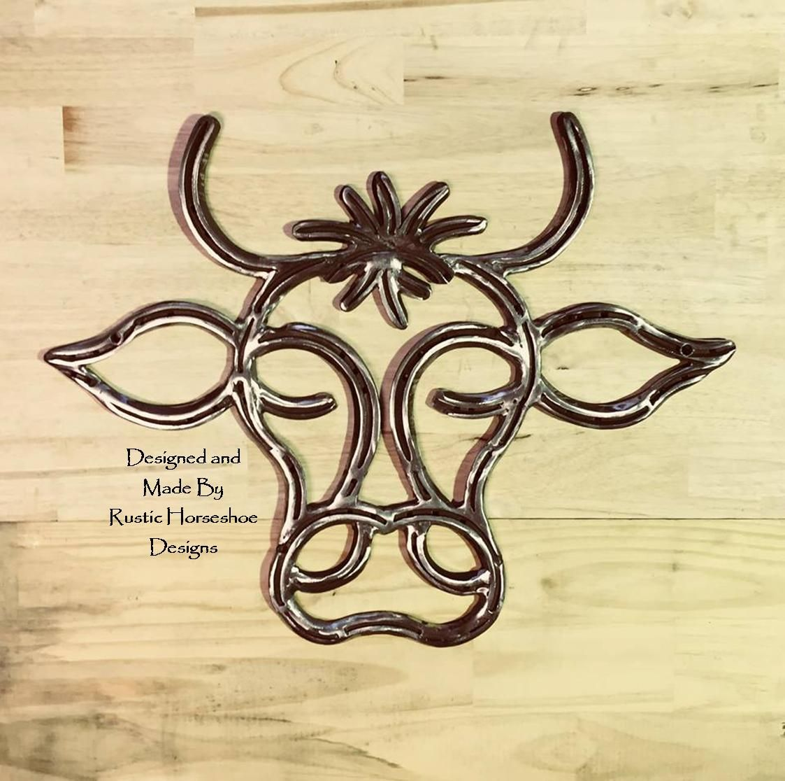 Miss Moo Designed And Made With Steel Horseshoes By Rustic Horseshoe Designs In Western Australia Welding Art Projects Welding Art Metal Tree Wall Art