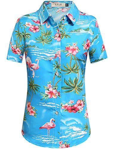 232ba3f28 SSLR Camisa Hawaiana Mujer Blusa Flamencos Floral Casual Para Verano ...