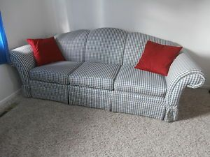 Perfect Blue And White Checkered Couch | Blue And White Checkered Sofa | EBay