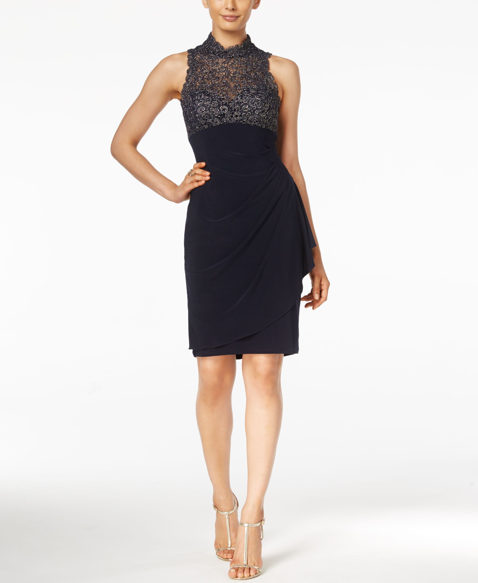Xscape Metallic Lace Draped Dress | Products | Pinterest
