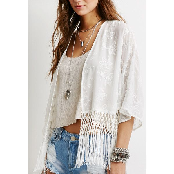 Shop Forever 21 Fringed Floral Embroidered Kimono Cream and more Women's  Tops from all the best online stores.