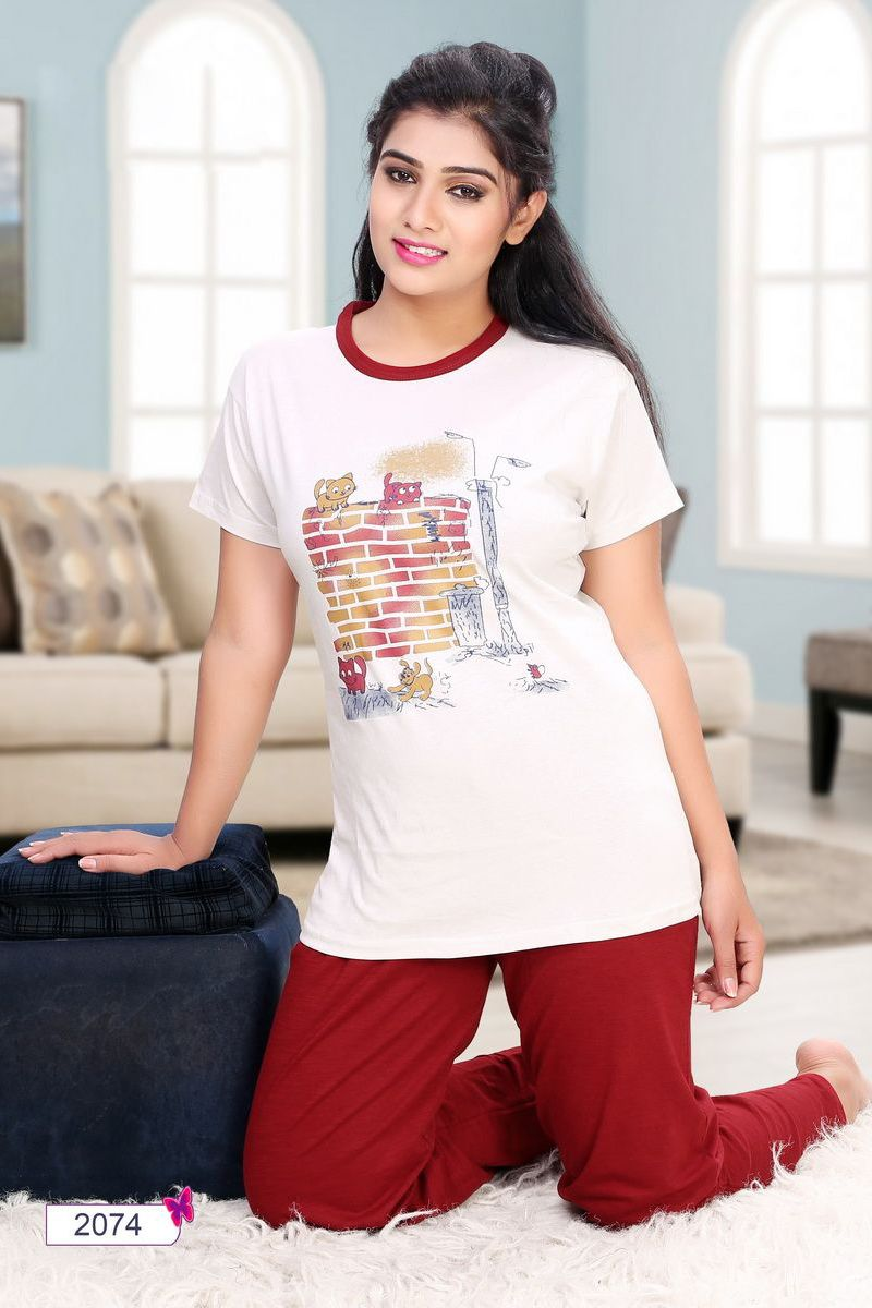 e58301b202 Whatsapp  - +91 9377709531 White-Simple-Cotton-Night-Wear-Cotton-Printed- Tshirt-And-Pant-In-Wholesale-2074-12536  wholesale  bulk  wholesalesupplier  ...