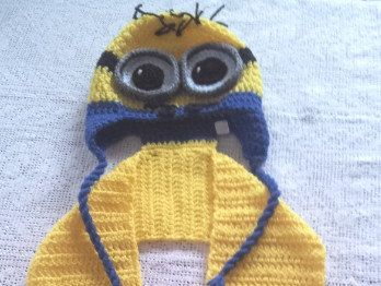 Minion Crochet Yellow and Blue Long Kids Scarf for by LaBufandaLLC